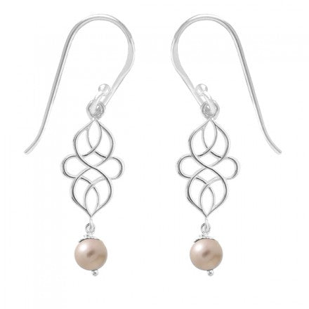 Swirl Pearl Dangles, $28 | Sterling Silver Earrings | Light Years Jewelry
