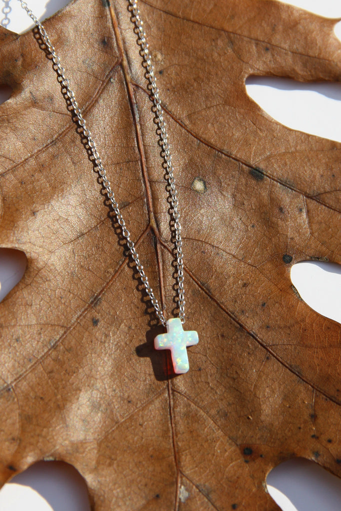 Opal Cross Necklace | Gold Vermeil Sterling Silver | Light Years Jewelry