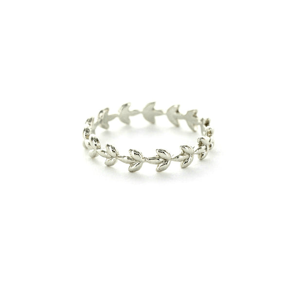Silver Plated Vine Band | Size 6 7 Leaf Ring | Light Years Jewelry
