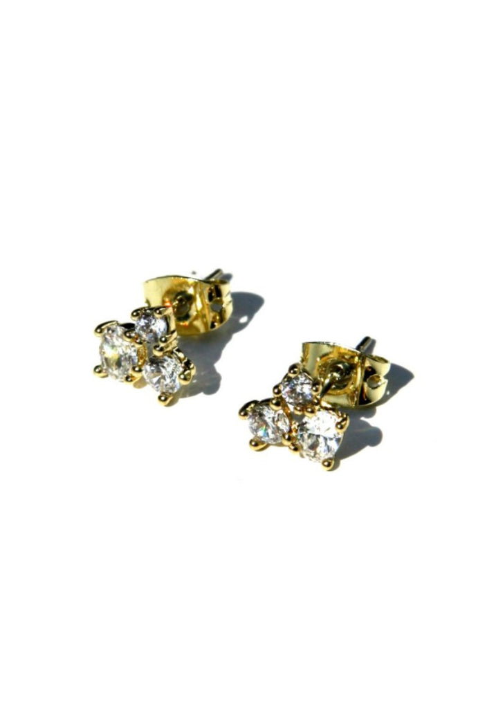 CZ Cluster Posts, $10 | Gold Plated Earrings | Light Years Jewelry