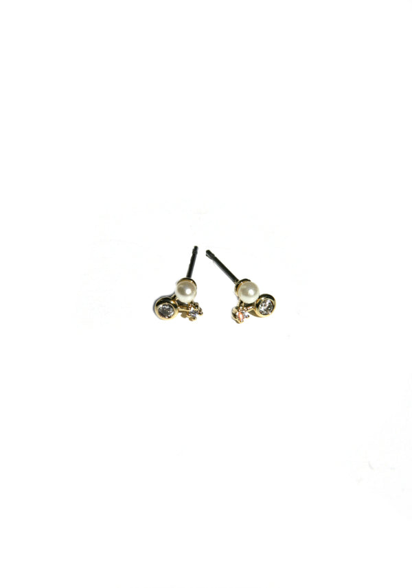 Pearl & CZ Cluster Posts | Gold Plated Earrings | Light Years Jewelry