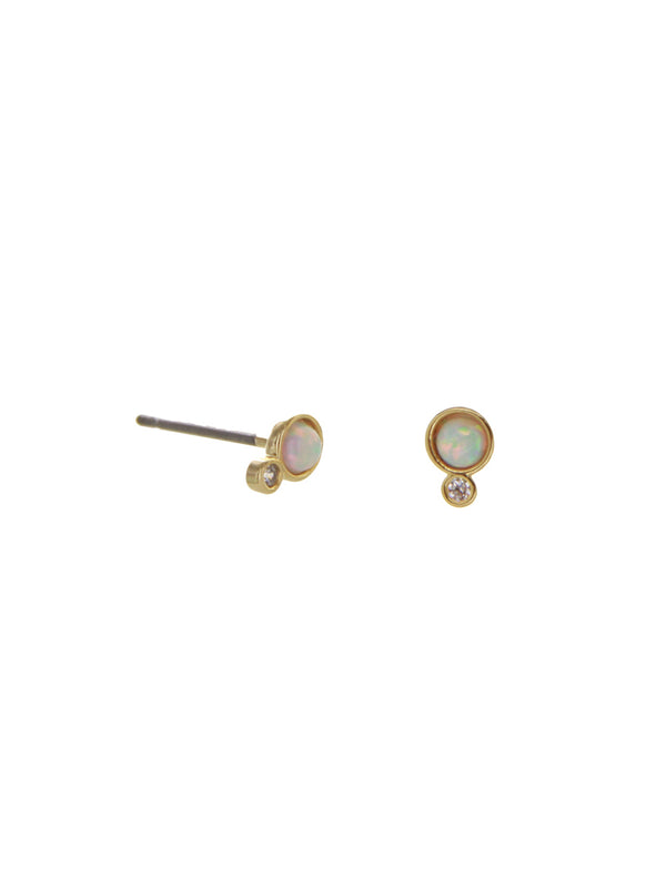Opal Dot with CZ Posts | Gold Plated Stud Earrings | Light Years Jewelry