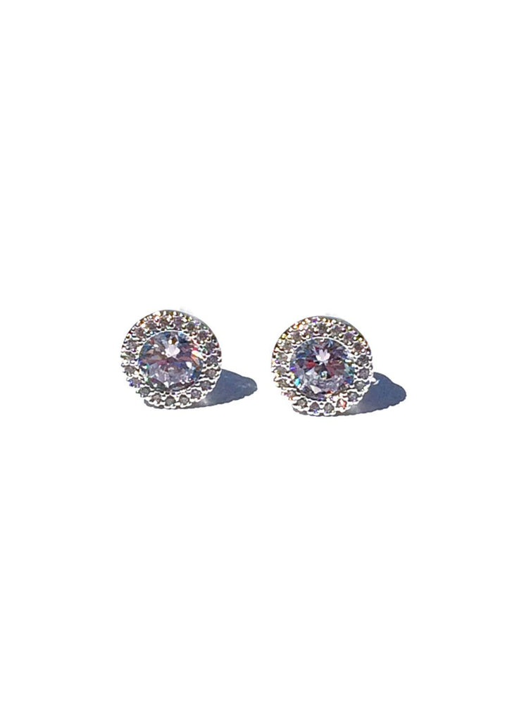 Large Round Bordered CZ Posts | Silver Plated Earring | Light Years