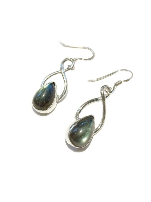 Twisted Labradorite Dangles | Sterling Silver Earrings | Light Years
