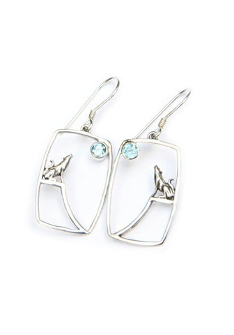 Howling Wolf Dangles, $27 | Sterling Silver, Blue Topaz | Light Years