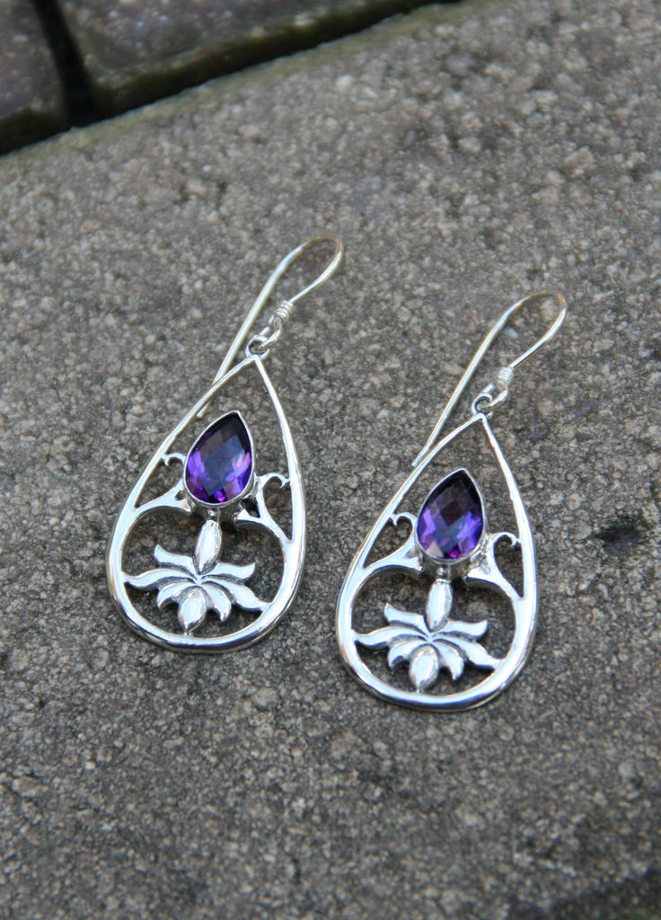 Amethyst Lotus Earrings, $34 | Sterling Silver | Light Years Jewelry