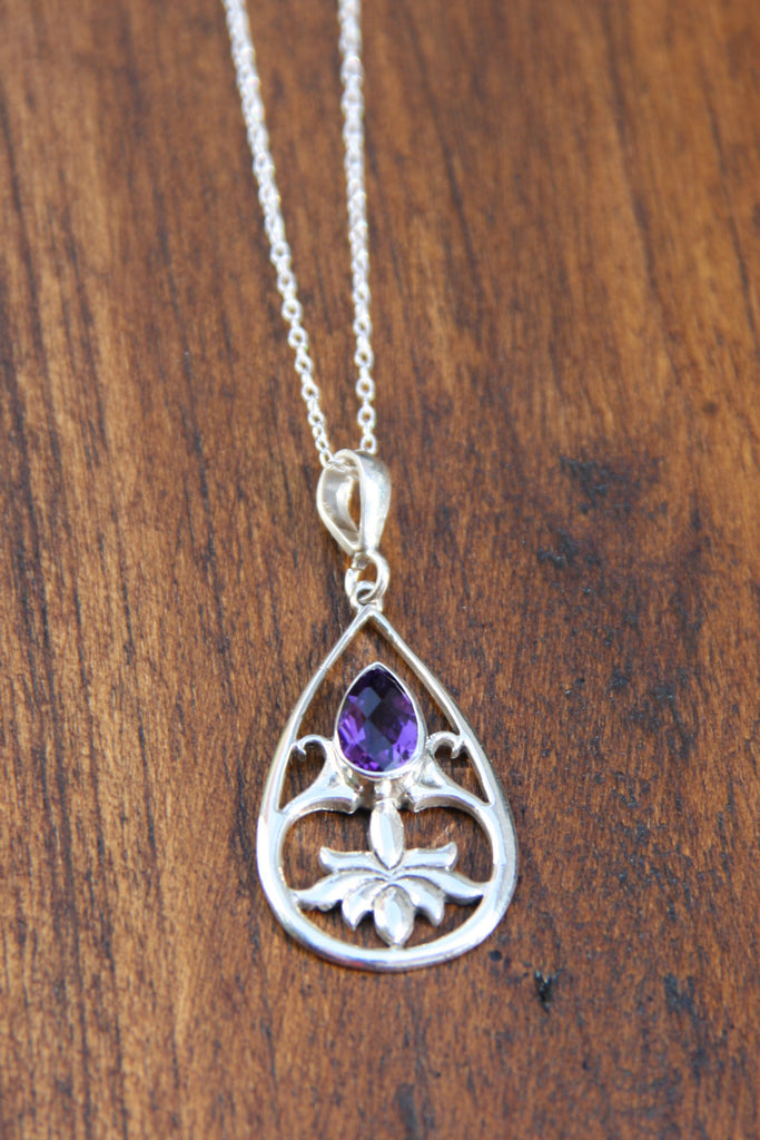 Amethyst Lotus Necklace, $28 | Sterling Silver | Light Years Jewelry