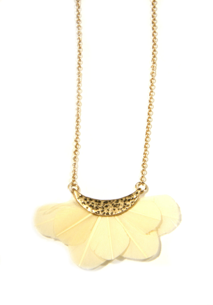 Feather Crescent Necklace | Gold Fashion Trendy | Light Years Jewelry