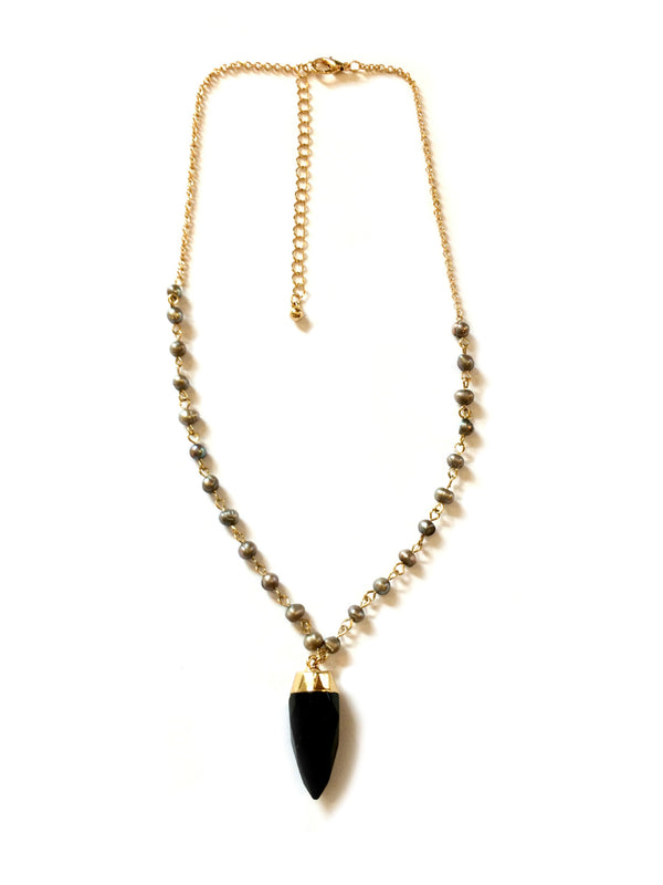 Pearl & Stone Spike Necklace | Gold Fashion Choker | Light Years Jewelry