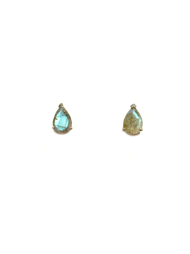 Gemstone Teardrop Posts | Labradorite | Sterling Silver Stud Earrings | Light Years