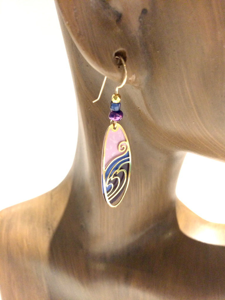 Purple Waves Earrings by Adajio | Gold Filled Dangles USA | Light Years