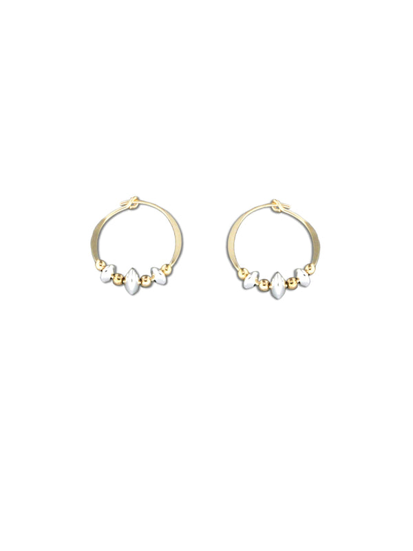 Handmade Beaded Hoops | Sterling Silver Gold Earrings | Light Years