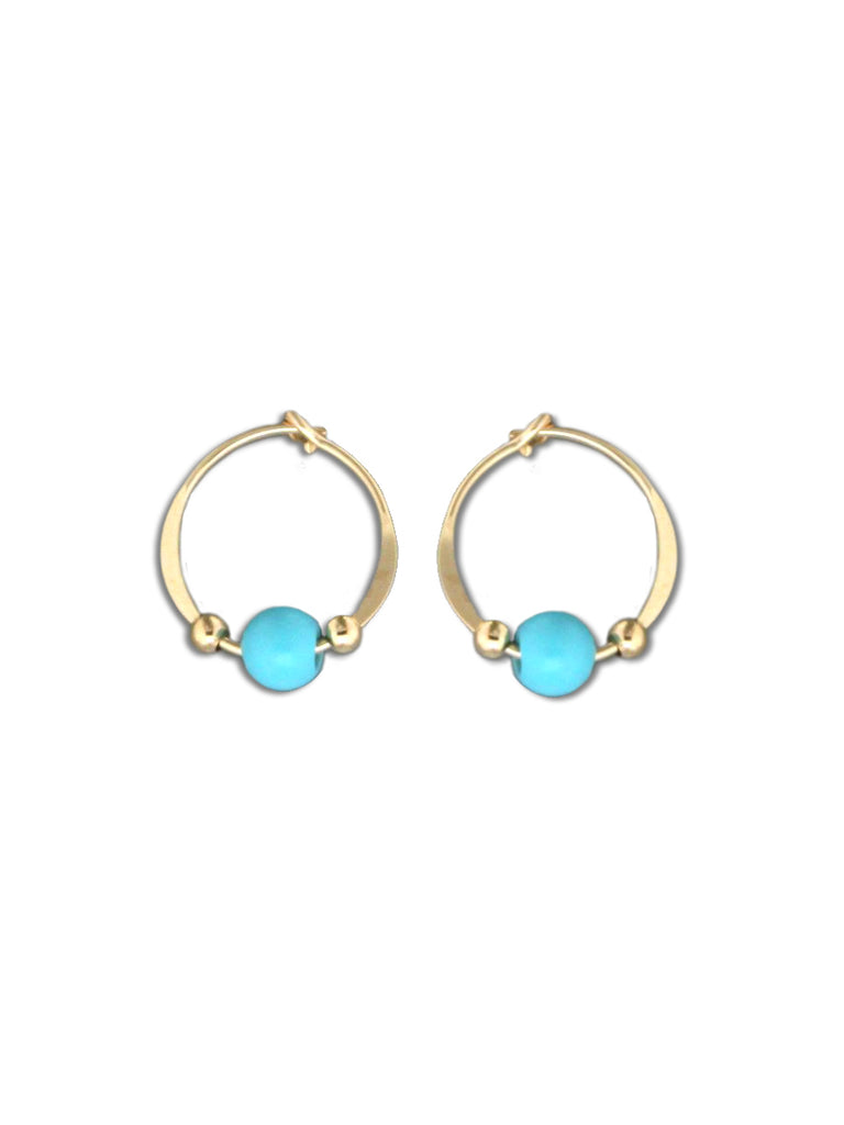 Turquoise Beaded Hoops | 14kt Gold Filled Earrings | Light Years Jewelry