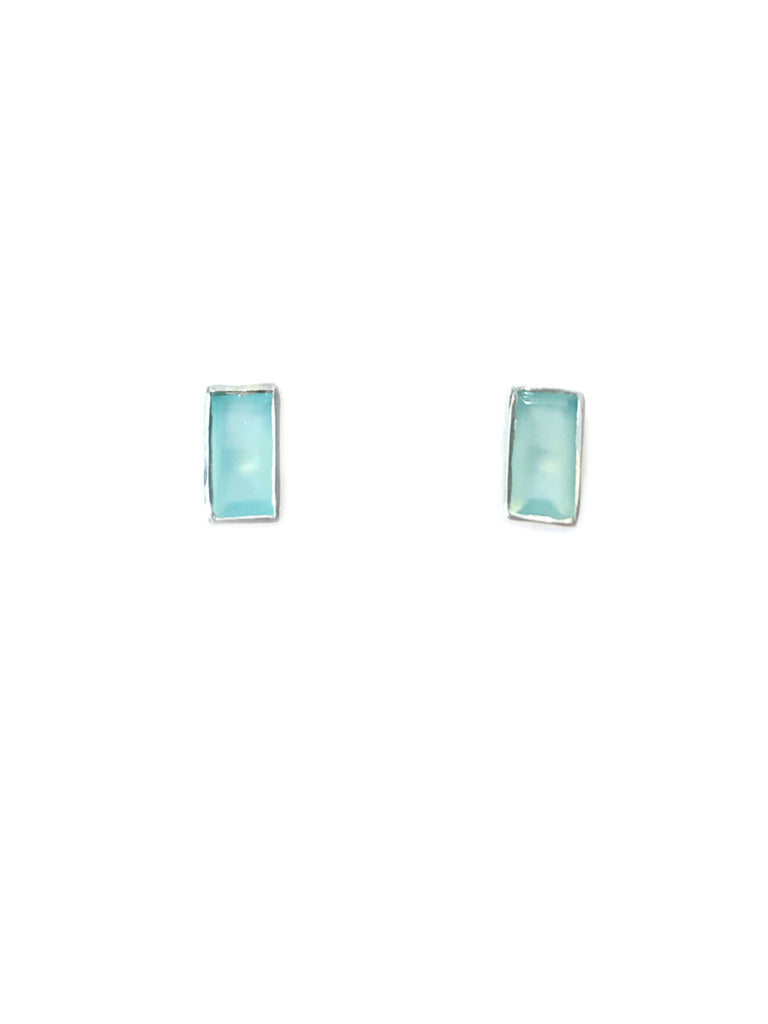 Chalcedony Baguette Posts | Sterling Silver Studs Earrings | Light Years