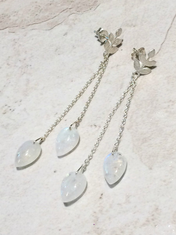 Fern Posts with Moonstone Drops | Sterling Silver Earrings | Light Years