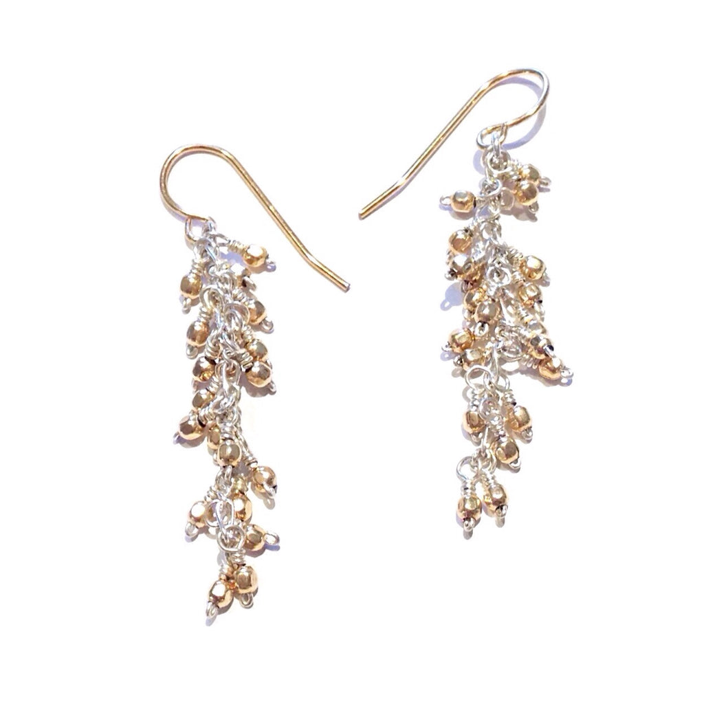 Gold Beads on Silver Earrings, $38 | Light Years Jewelry