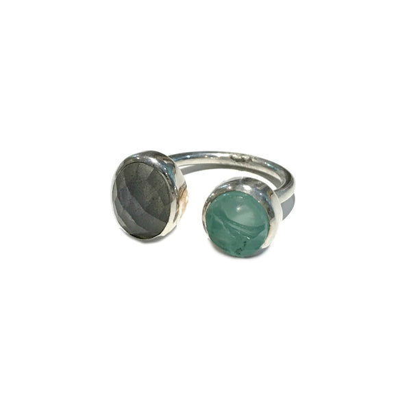 Labradorite & Chalcedony Wrap Ring | Sterling Silver 7 8 | Light Years