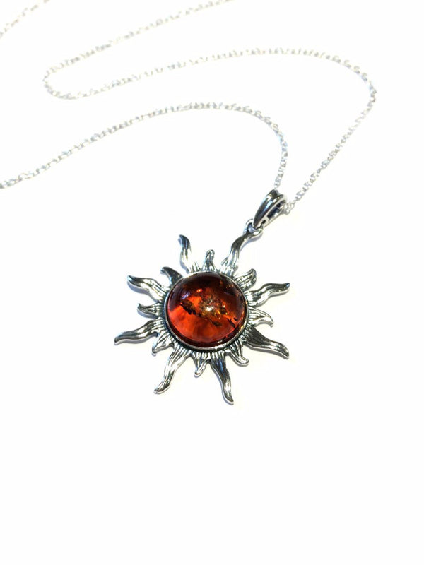 Baltic Amber Sun Necklace | Sterling Silver Chain Pendant | Light Years