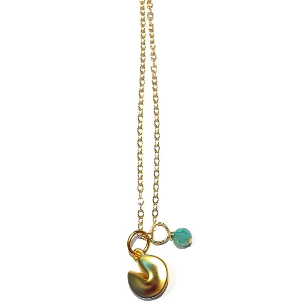 Gold Fortune Cookie Necklace with Pacific Opal, $32 | 14kt Gold-Filled | Light Years Jewelry