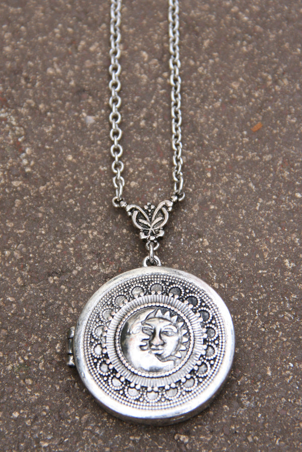 Celestial Locket Necklace, $14 | Silver or Gold | Light Years Jewelry