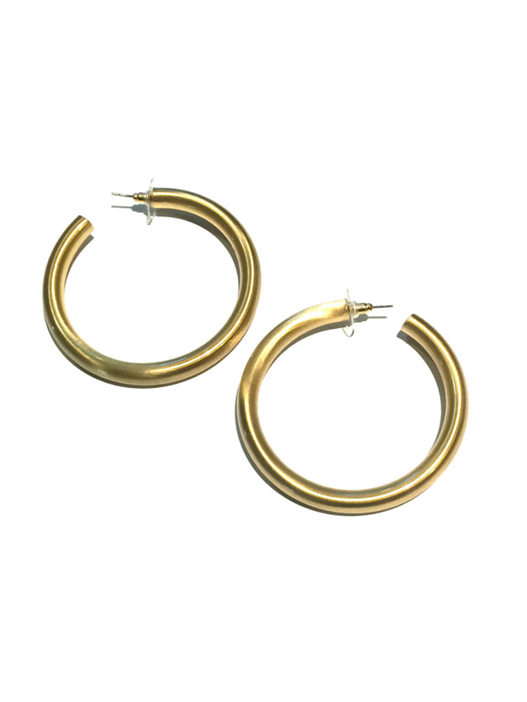 Thick Satin Hoops | Gold Matte Fashion Earrings | Light Years Jewelry
