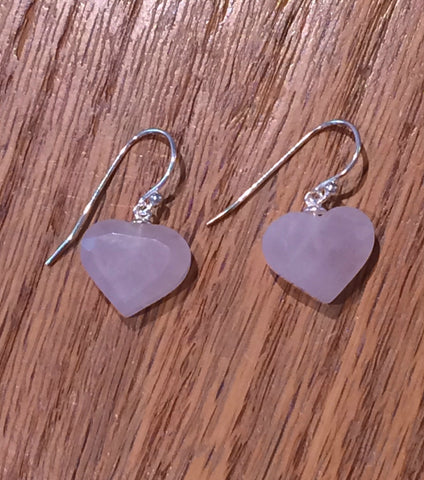 Rose Quartz Heart Dangles, $18 | Sterling Silver | Light Years Jewelry