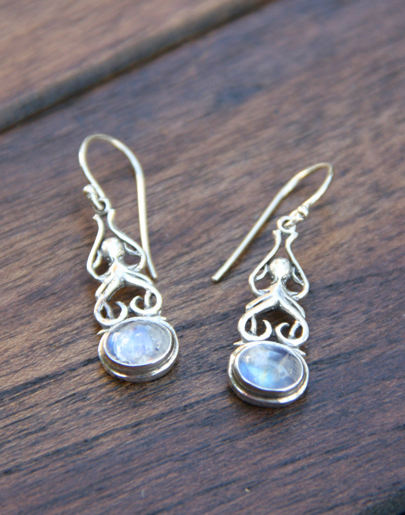 Blue Moonstone Swirl Earrings, $30 | Sterling Silver | Light Years