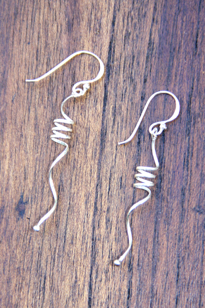Swirl & Ball Dangles, $16 | Sterling Silver Earrings | Light Years