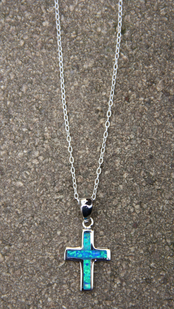 Blue Opal Cross Necklace, $22 | Sterling Silver Pendant | Light Years
