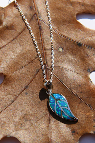 Blue Opal Leaf Necklace, $24 | Sterling Silver | Light Years Jewelry