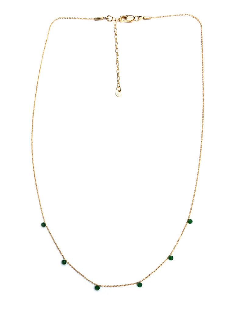 Dainty Gemstone Necklace | Emerald Black Spinel Gold | Light Years