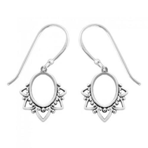 Petaled Oval Dangle Earrings, $17 | Sterling Silver | Light Years