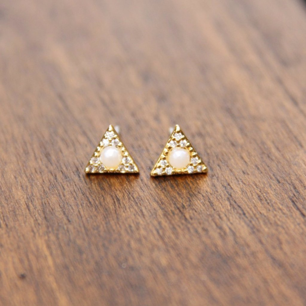 Pearl & CZ Triangle Posts, $10 | Gold Earrings | Light Years Jewelry