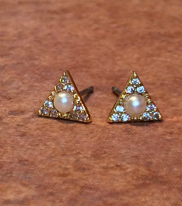 Pearl & CZ Triangle Posts | Gold Stud Earrings | Light Years Jewelry