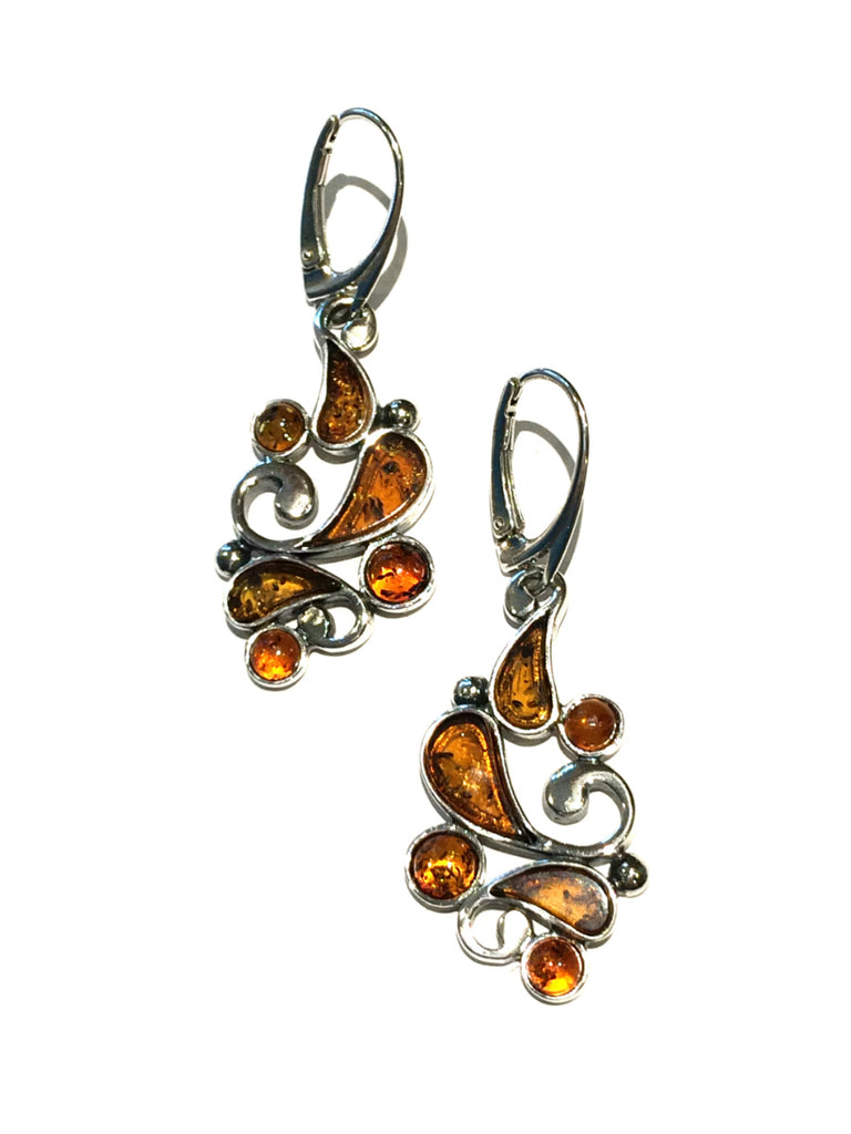 Amber Medallion Earrings | Sterling Silver Dangles | Light Years Jewelry
