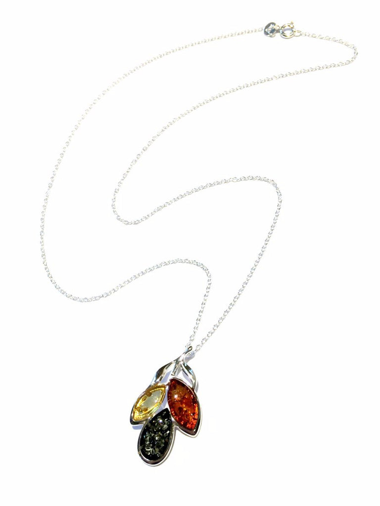 Amber Petal Necklace | Sterling Silver Baltic Pendant | Light Years