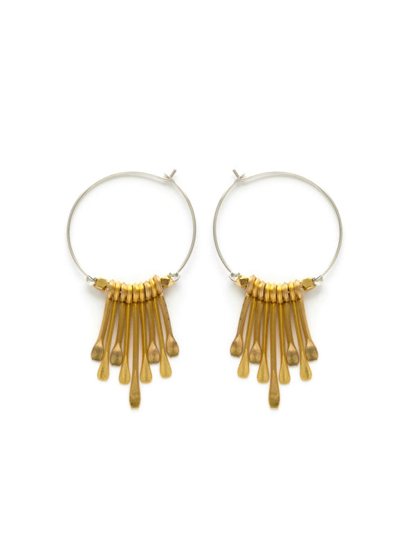 Mixed Metal Paddle Hoops | Sterling Silver and Gold | Light Years