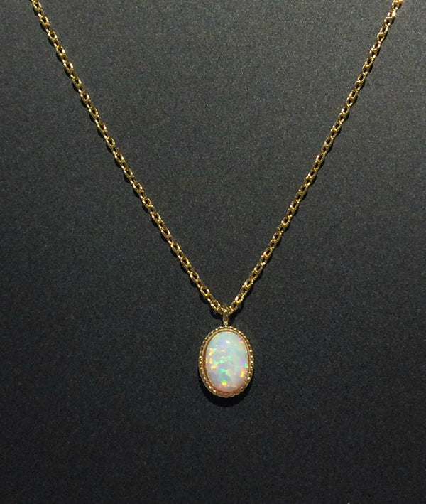 Oval White Opal Necklace | Gold Plated Chain | Light Years Jewelry