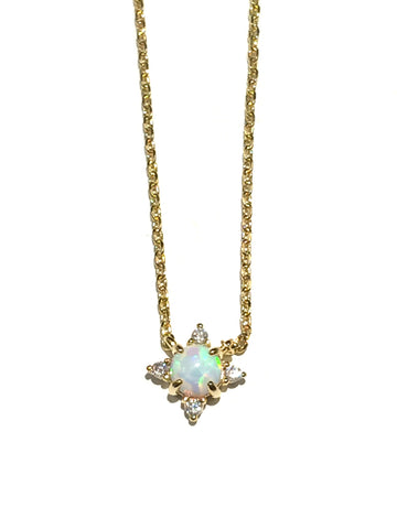 Opal & CZ Necklace | Gold Plated Fashion Jewelry | Light Years