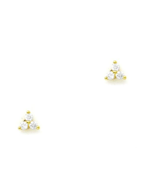 Triple CZ Studs | Gold Plated Posts Earrings | Light Years Jewelry