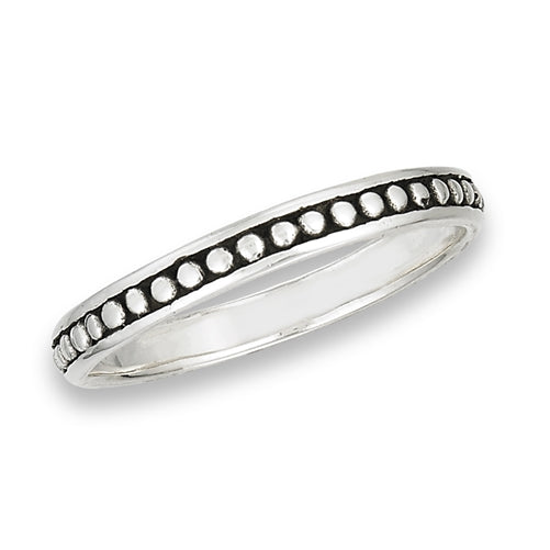 Bordered Dot Band | Sterling Silver Ring 4 5 6 7 8 9 10 | Light Years