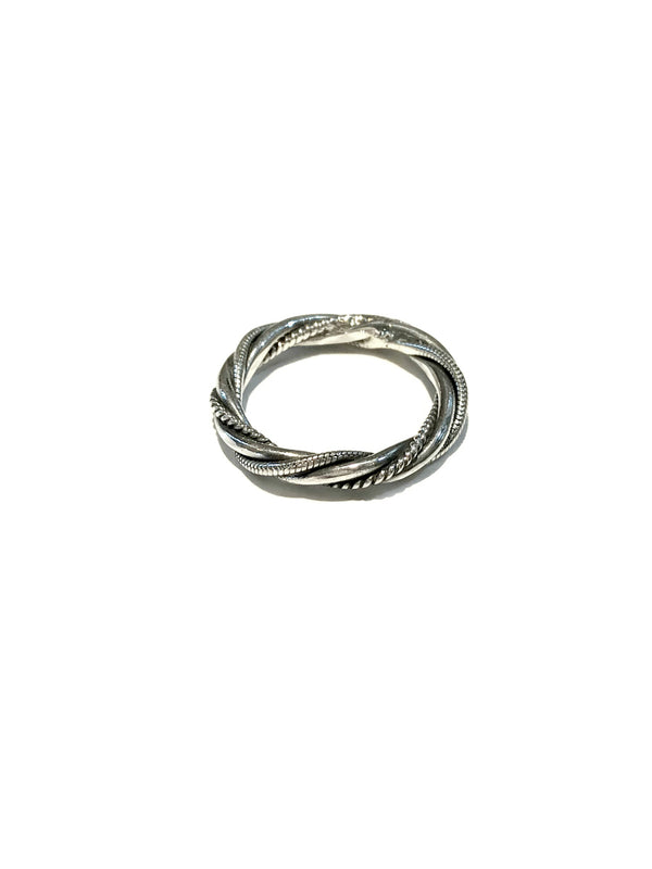 Thick Twisted Band Ring | Sterling Silver Size 6 7 8 9 | Light Years