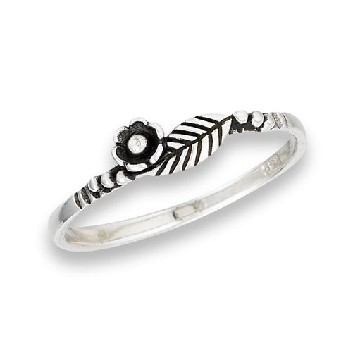 Flower & Leaf Ring | Sterling Silver Band | Light Years Jewlery