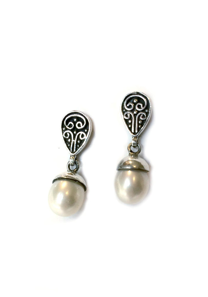 Pearl Drop Post Earrings, $21 | Sterling Silver | Light Years Jewelry