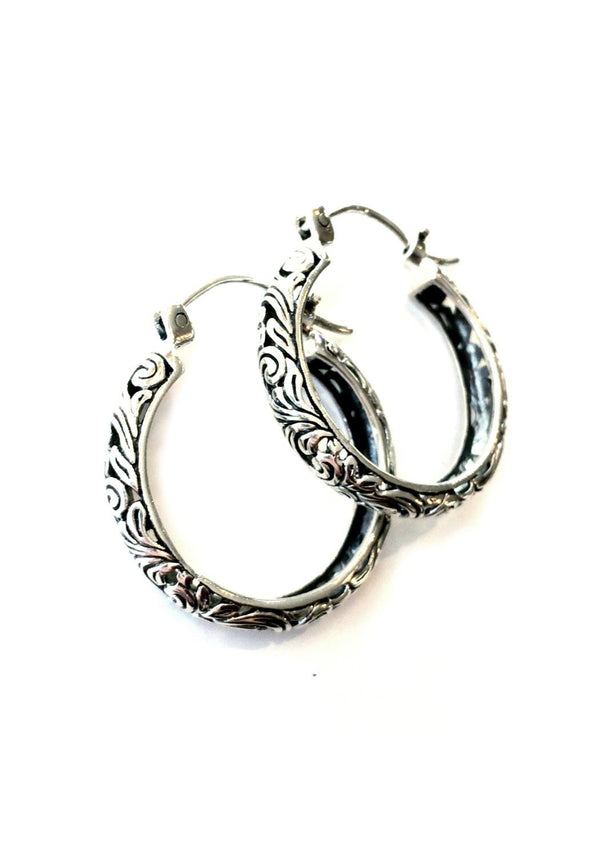 Bali-Style Hoop Earrings, $24 | Sterling Silver | Light Years Jewelry