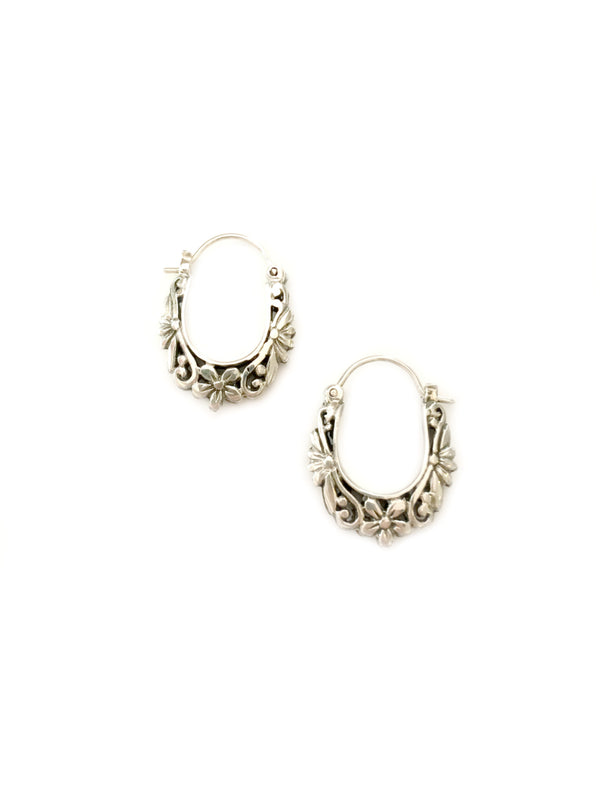 Handmade Flower Hoops | Sterling Silver Earrings | Light Years Jewelry