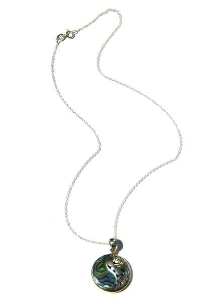 Abalone Swirl Necklace | Sterling Silver Pendant & Chain | Light Years
