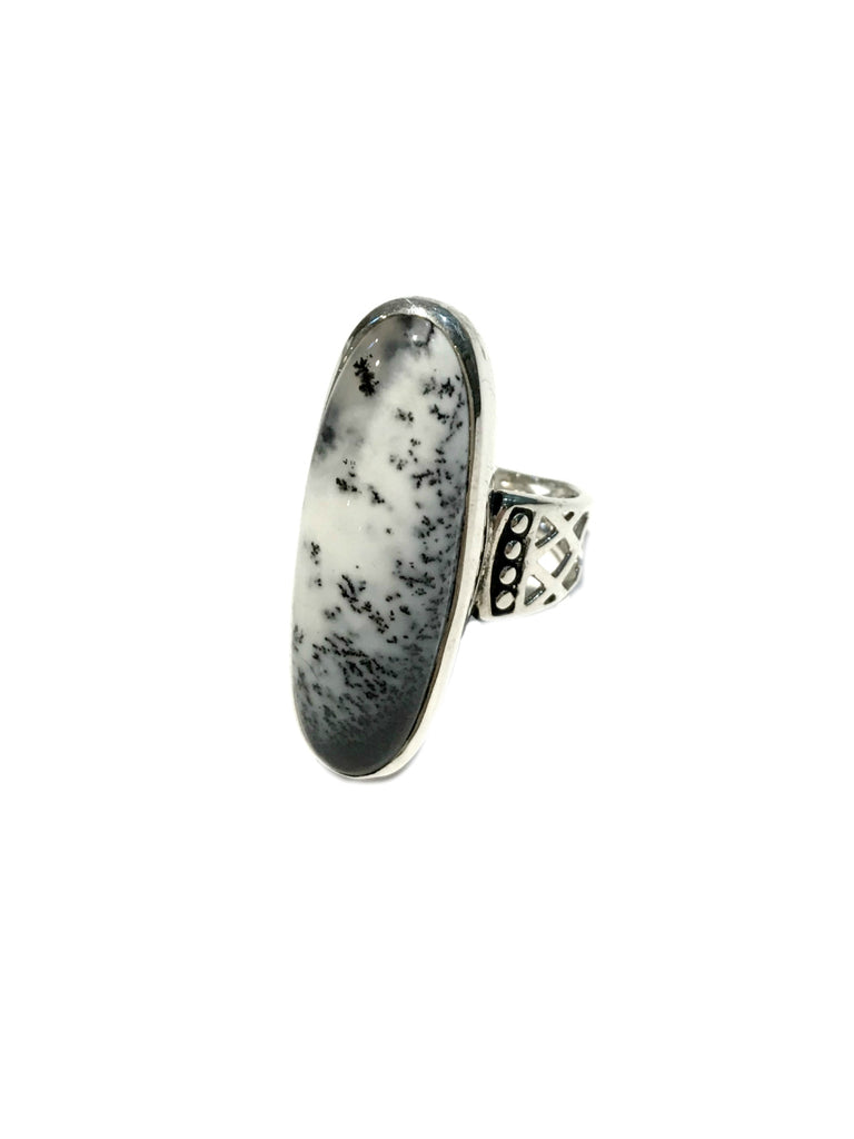 Dendritic Opal Statement Ring | Sterling Silver Size 7 10 | Light Years