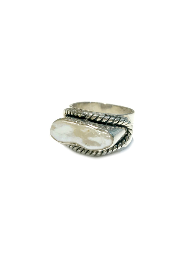 Horizontal Pearl Ring | Sterling Silver Size 7 8 10 | Light Years Jewelry