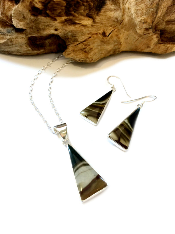 Polychrome Jasper Set | Sterling Silver Earrings Necklace | Light Years